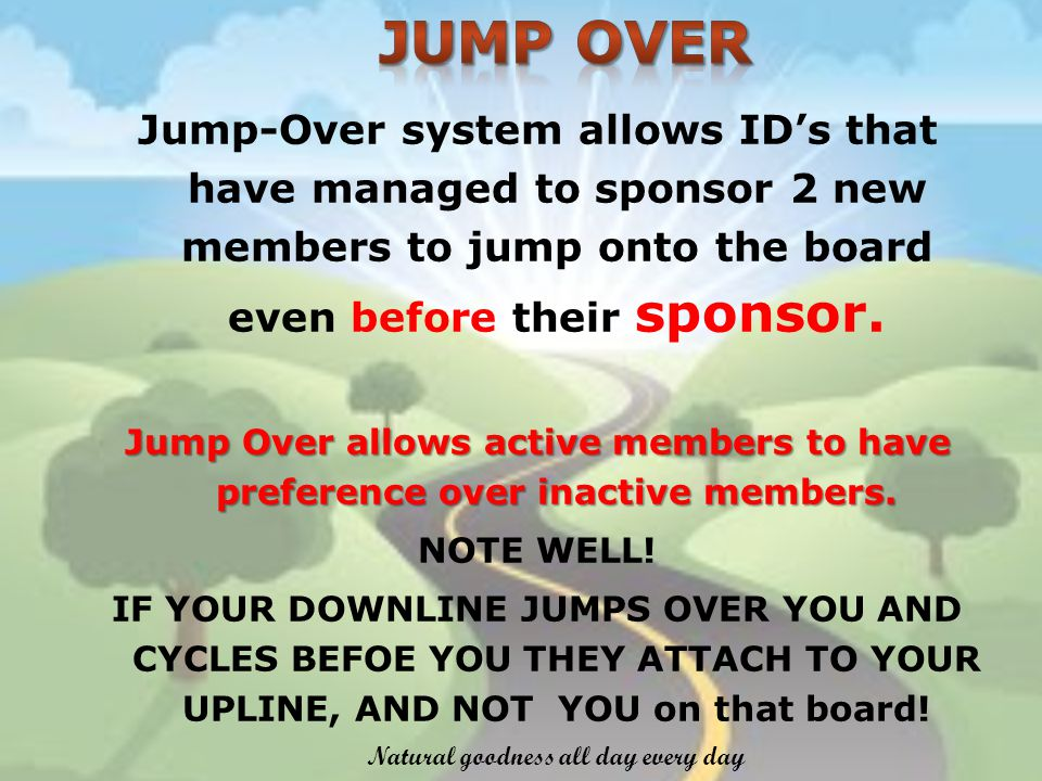 Jump-Over system allows IDs that have managed to sponsor 2 new members to jump onto the board even before their sponsor.
