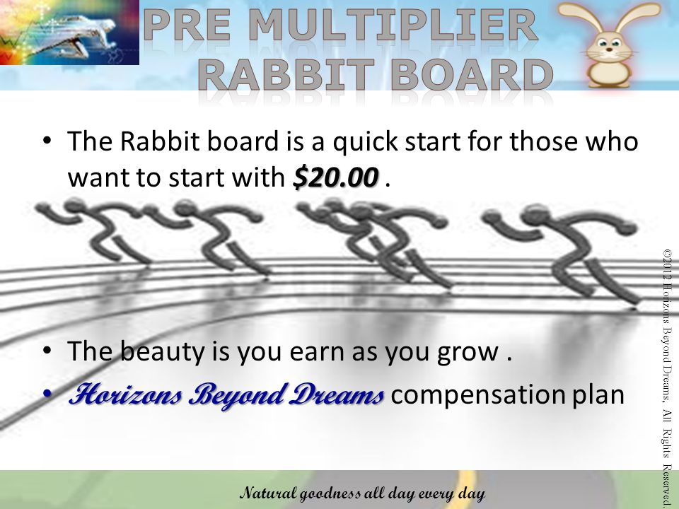 $20.00 The Rabbit board is a quick start for those who want to start with $20.00.