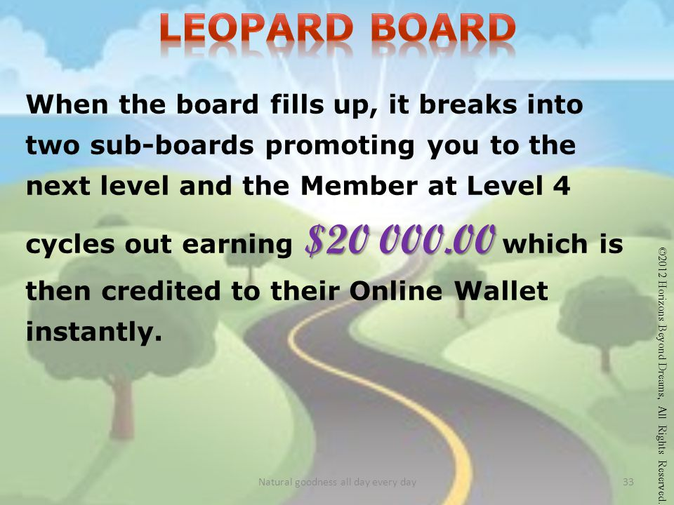 When the board fills up, it breaks into two sub-boards promoting you to the next level and the Member at Level 4 cycles out earning $20 000.00 000.00 which is then credited to their Online Wallet instantly.
