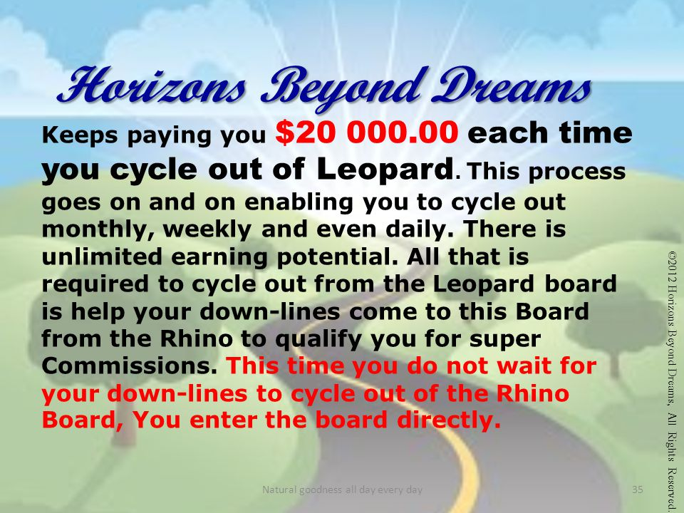 Horizons Beyond Dreams Keeps paying you $20 000.00 each time you cycle out of Leopard.