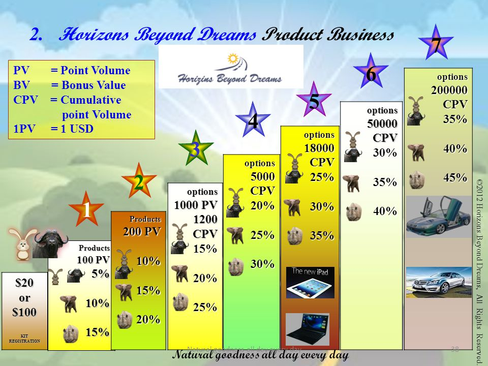 2. Horizons Beyond Dreams Product Business Plan PV = Point Volume BV = Bonus Value CPV = Cumulative point Volume 1PV = 1 USD $20or$100 KIT REGISTRATIO