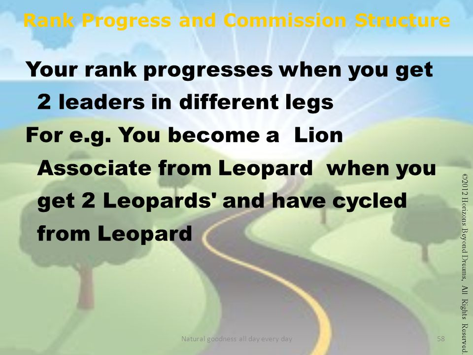 Rank Progress and Commission Structure Your rank progresses when you get 2 leaders in different legs For e.g.