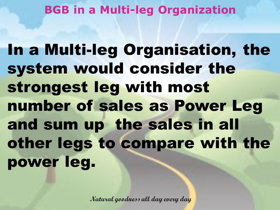 BGB in a Multi-leg Organization In a Multi-leg Organisation, the system would consider the strongest leg with most number of sales as Power Leg and sum up the sales in all other legs to compare with the power leg.