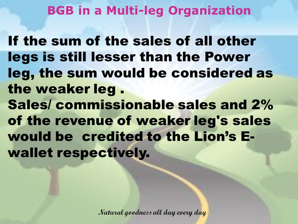 BGB in a Multi-leg Organization If the sum of the sales of all other legs is still lesser than the Power leg, the sum would be considered as the weaker leg.