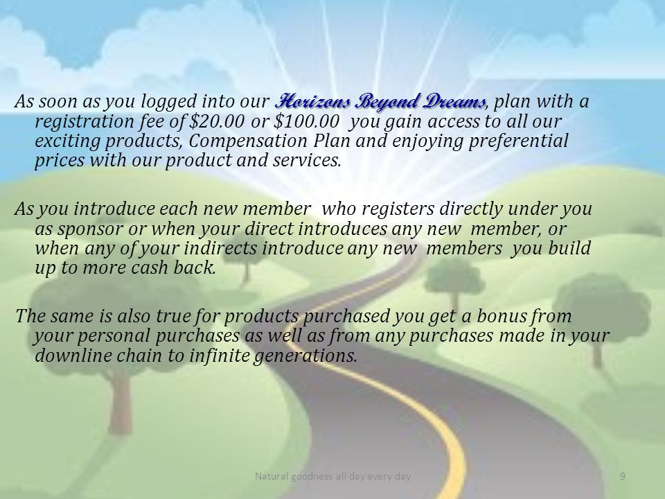 As soon as you logged into our Horizons Beyond Dreams Dreams, plan with a registration fee of $20.00 or $100.00 you gain access to all our exciting products, Compensation Plan and enjoying preferential prices with our product and services.
