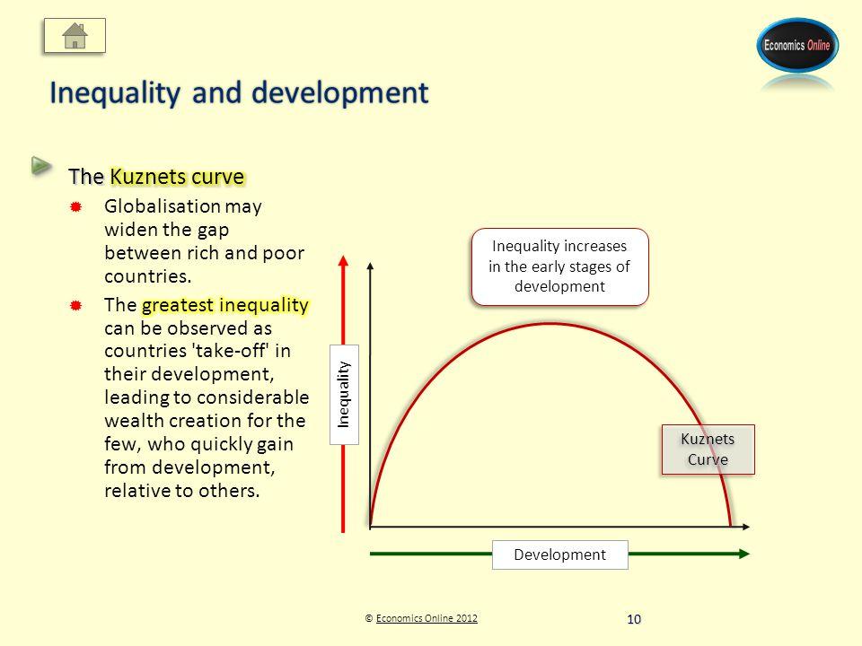 © Economics Online 2012Economics Online 2012 Inequality and development Kuznets Curve Inequality increases in the early stages of development Development Inequality 10