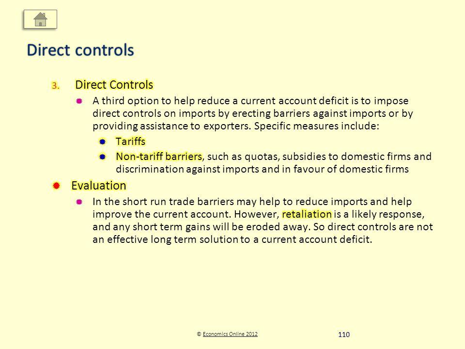 © Economics Online 2012Economics Online 2012 Direct controls 110