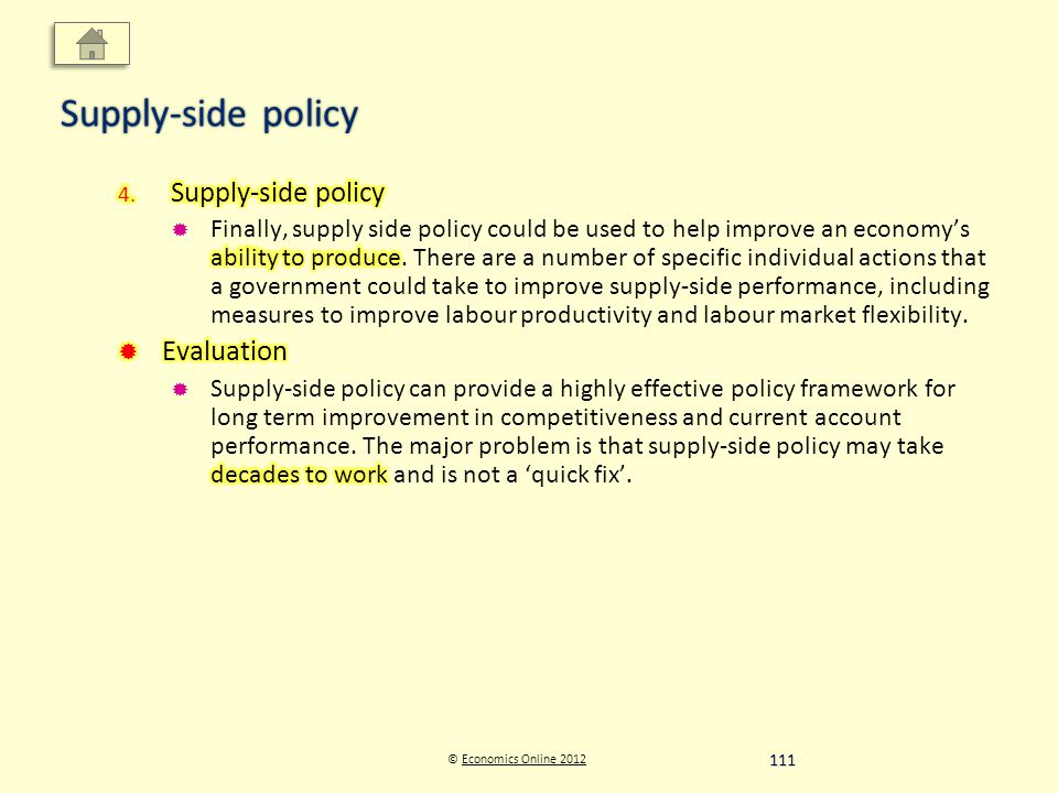 © Economics Online 2012Economics Online 2012 Supply-side policy 111