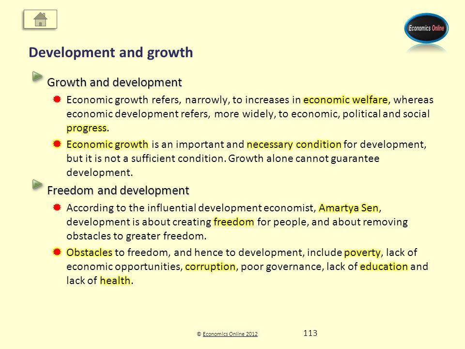 © Economics Online 2012Economics Online 2012 Development and growth 113