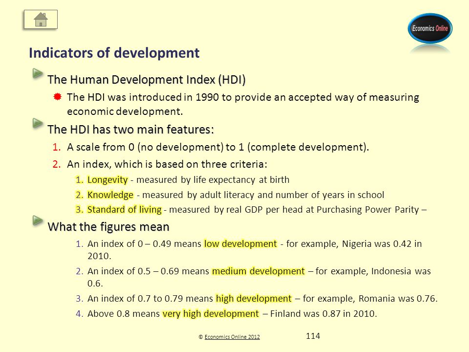 © Economics Online 2012Economics Online 2012 Indicators of development 114