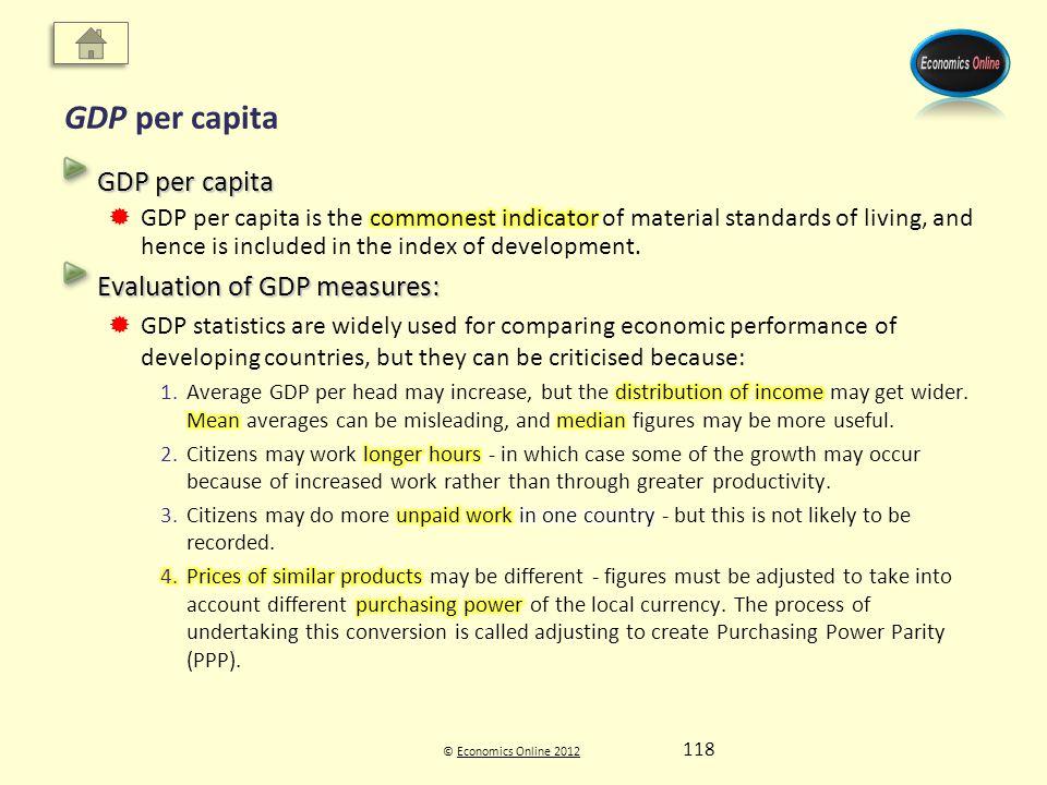 © Economics Online 2012Economics Online 2012 GDP per capita 118