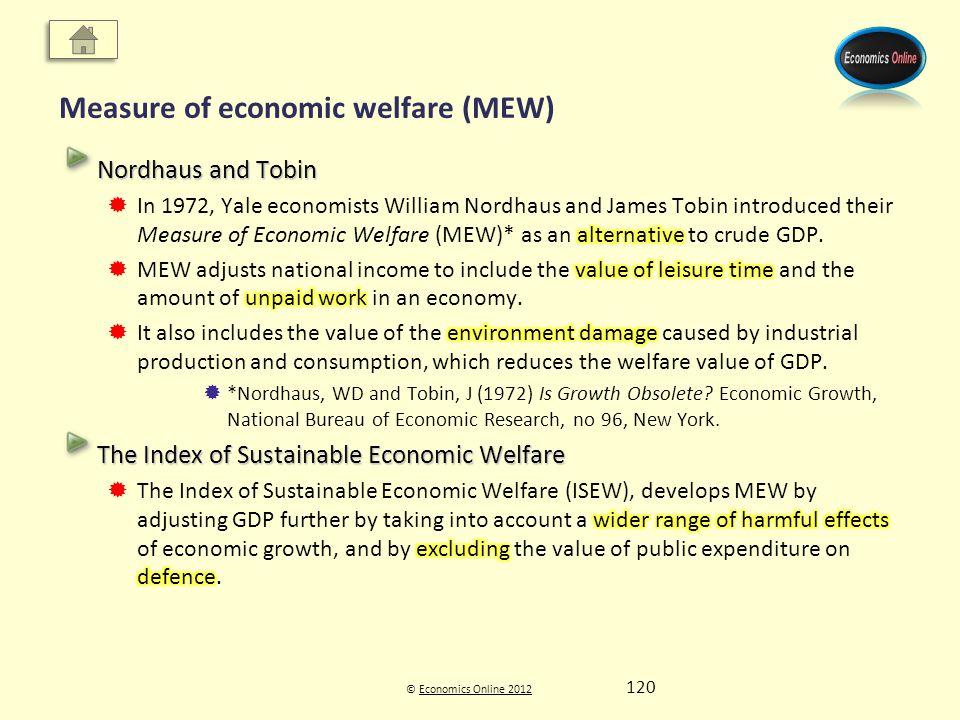 © Economics Online 2012Economics Online 2012 Measure of economic welfare (MEW) 120