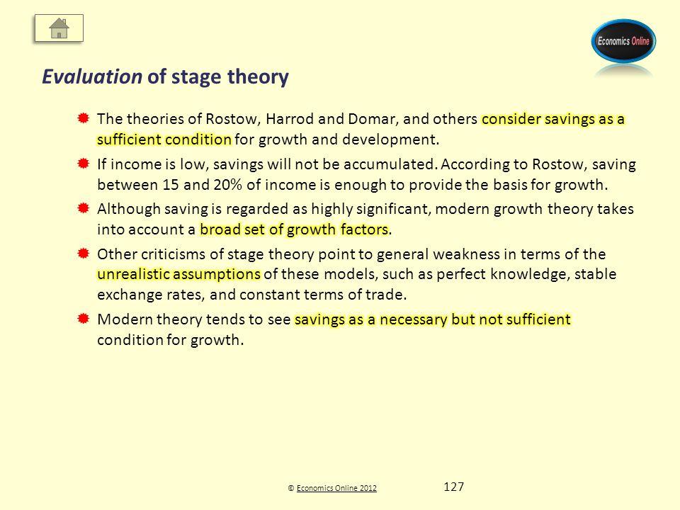 © Economics Online 2012Economics Online 2012 Evaluation of stage theory 127