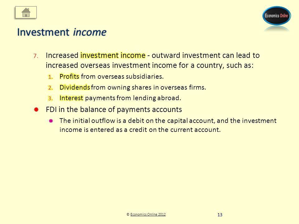 © Economics Online 2012Economics Online 2012 Investment income 13