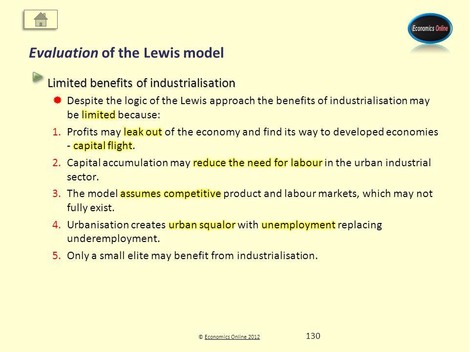 © Economics Online 2012Economics Online 2012 Evaluation of the Lewis model 130