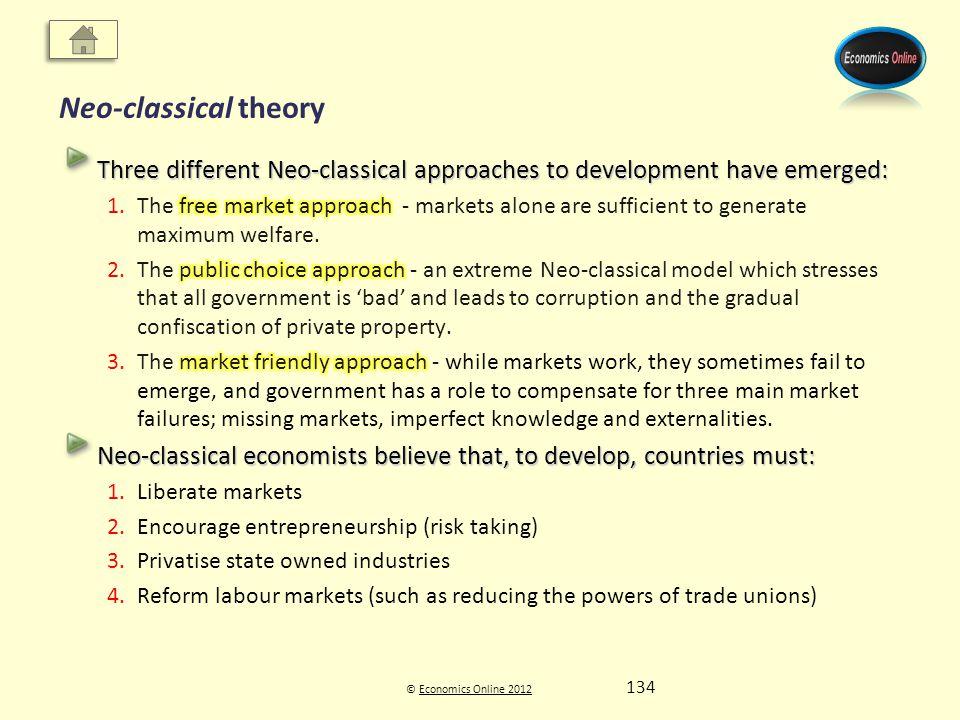 © Economics Online 2012Economics Online 2012 Neo-classical theory 134