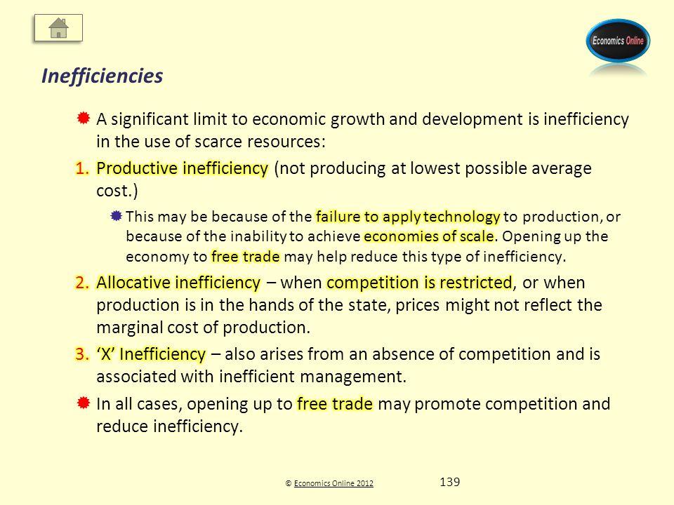 © Economics Online 2012Economics Online 2012 Inefficiencies 139