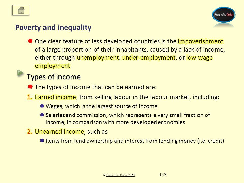 © Economics Online 2012Economics Online 2012 Poverty and inequality 143