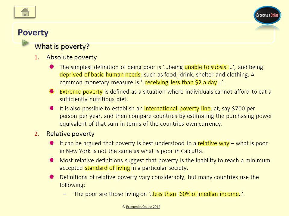 © Economics Online 2012Economics Online 2012 Poverty