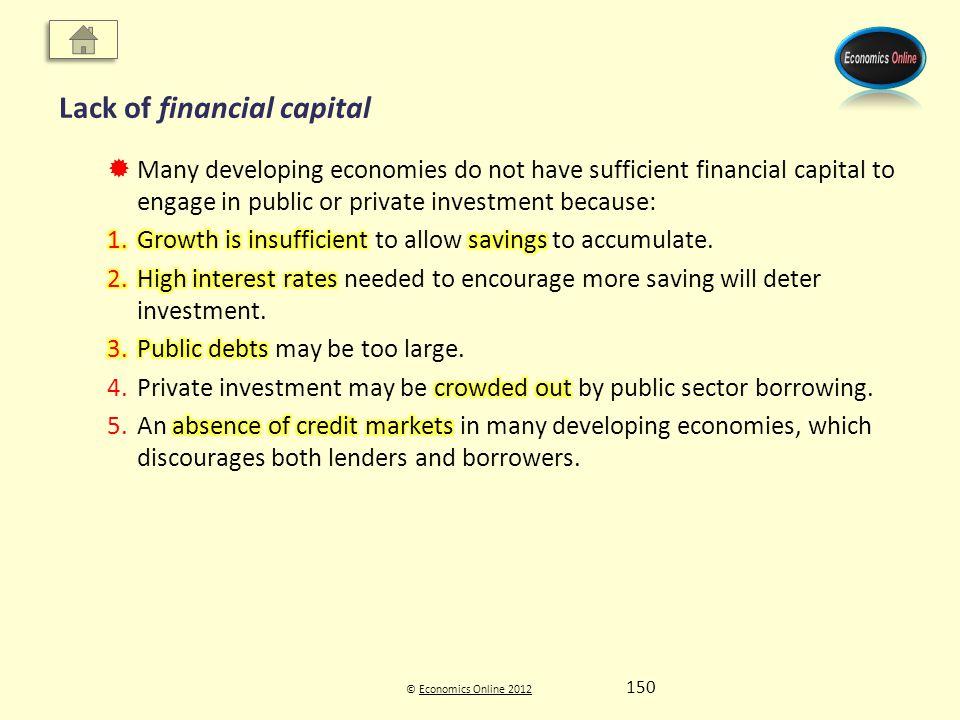 © Economics Online 2012Economics Online 2012 Lack of financial capital 150