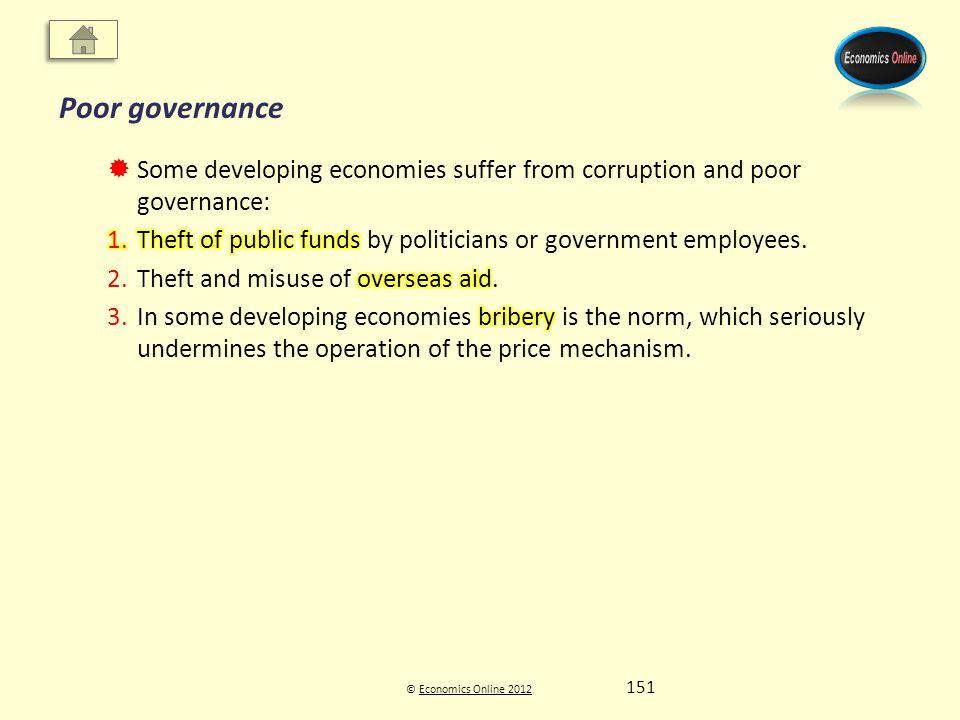 © Economics Online 2012Economics Online 2012 Poor governance 151