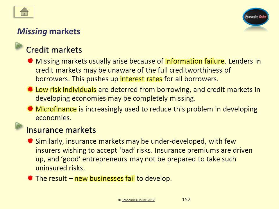 © Economics Online 2012Economics Online 2012 Missing markets 152