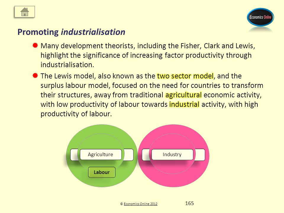 © Economics Online 2012Economics Online 2012 Promoting industrialisation Agriculture Industry Agriculture Industry Labour 165
