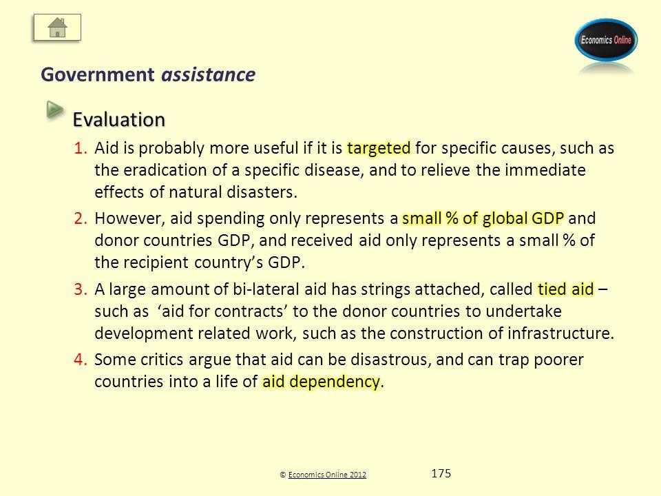 © Economics Online 2012Economics Online 2012 Government assistance 175