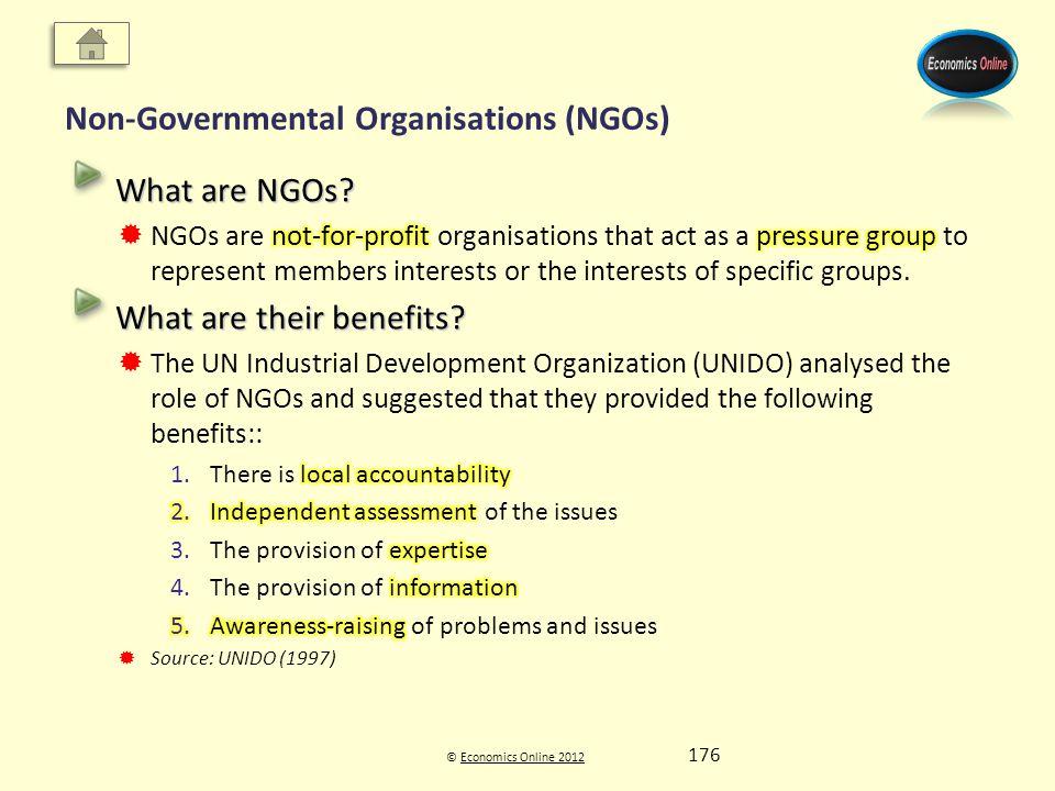 © Economics Online 2012Economics Online 2012 Non-Governmental Organisations (NGOs) 176