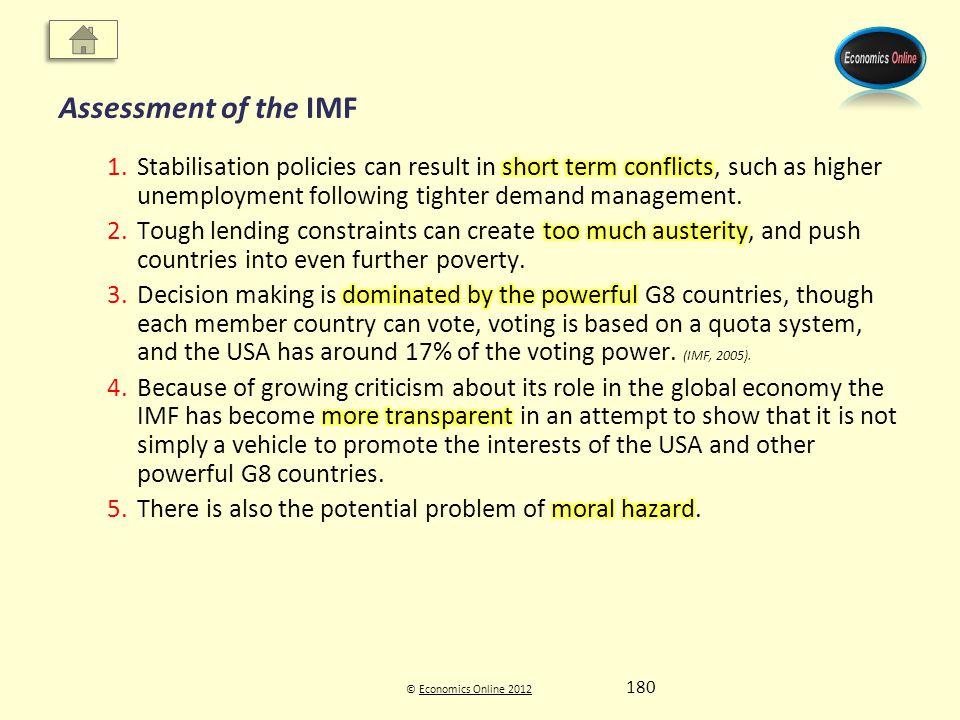 © Economics Online 2012Economics Online 2012 Assessment of the IMF 180