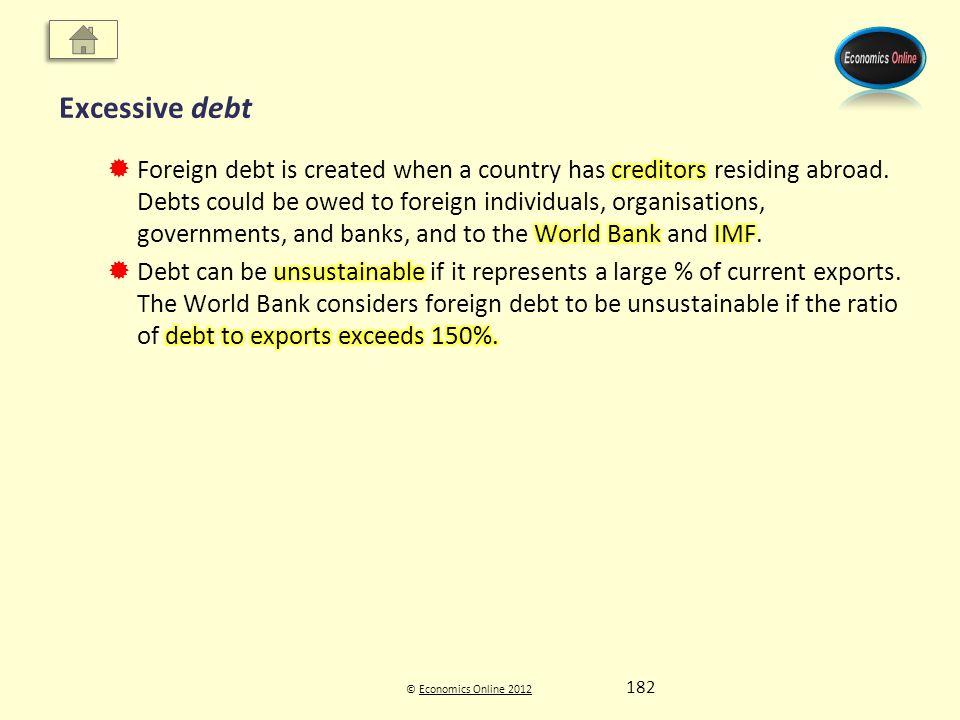 © Economics Online 2012Economics Online 2012 Excessive debt 182