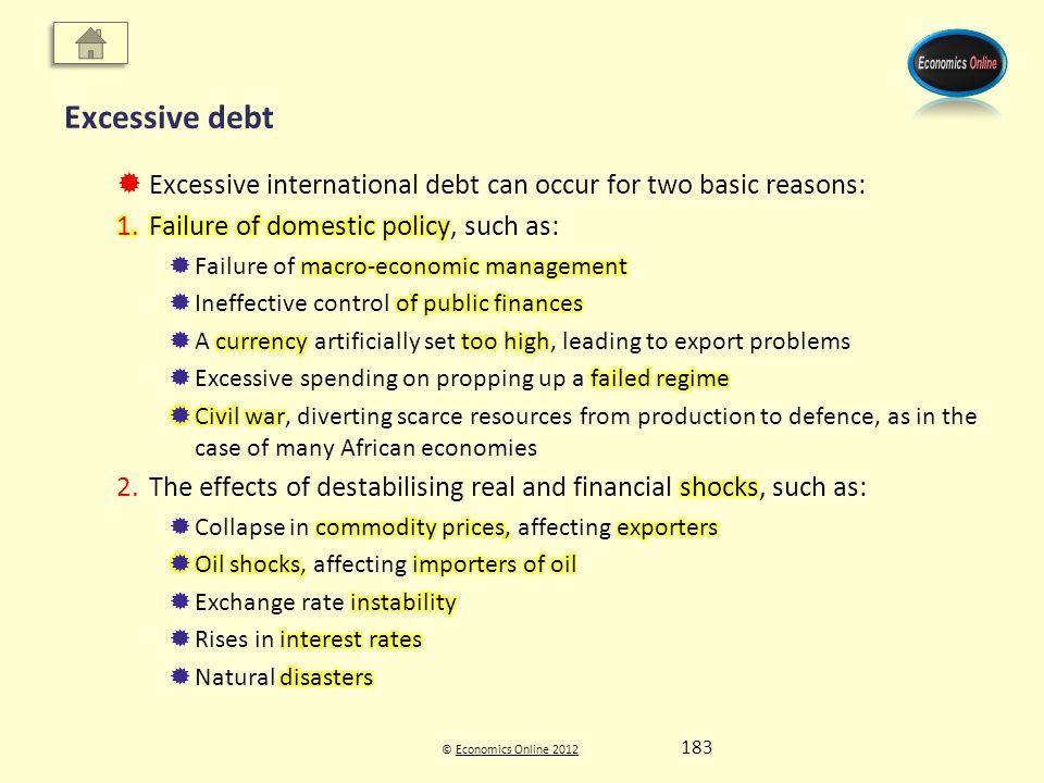 © Economics Online 2012Economics Online 2012 Excessive debt 183