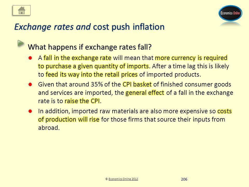 © Economics Online 2012Economics Online 2012 Exchange rates and cost push inflation 206