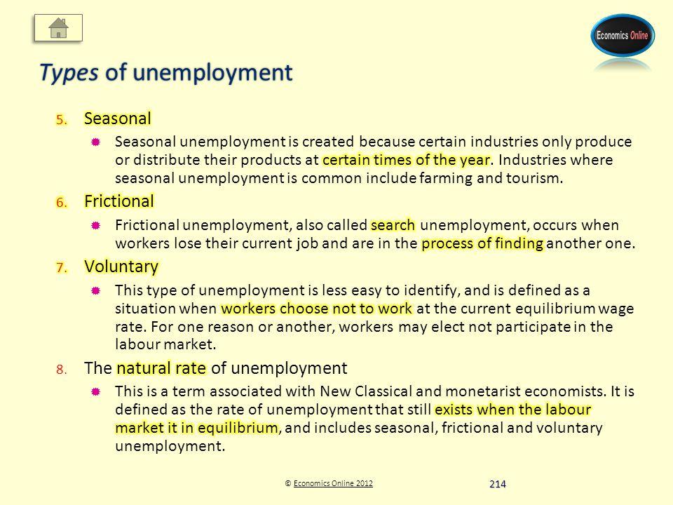 © Economics Online 2012Economics Online 2012 Types of unemployment 214