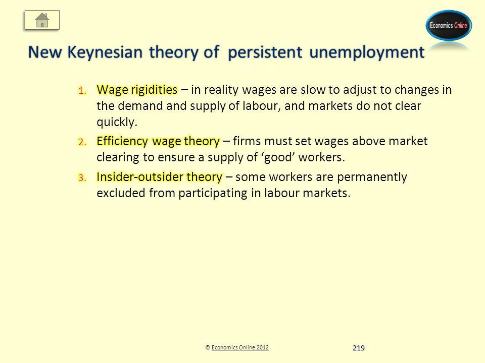 © Economics Online 2012Economics Online 2012 New Keynesian theory of persistent unemployment 219