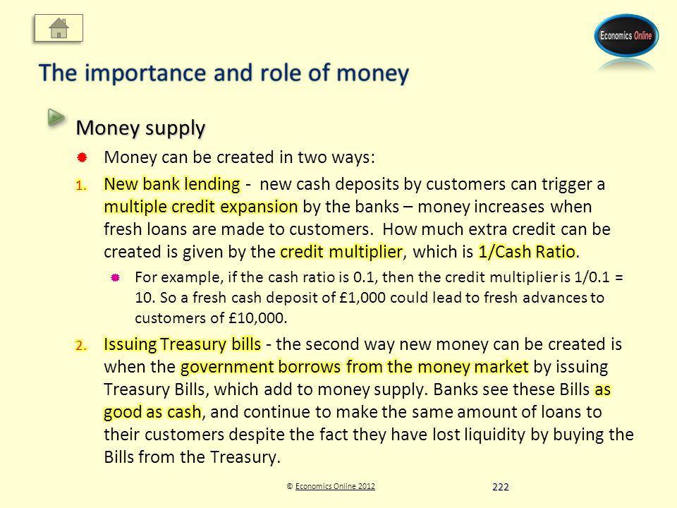© Economics Online 2012Economics Online 2012 The importance and role of money 222