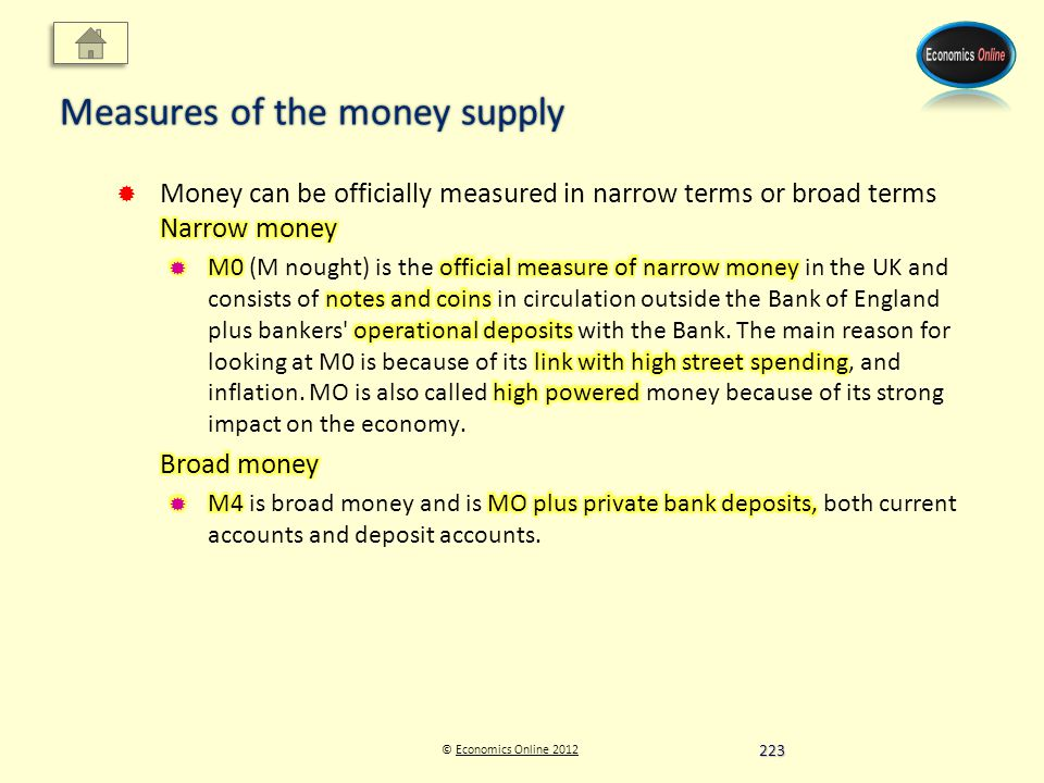 © Economics Online 2012Economics Online 2012 Measures of the money supply 223