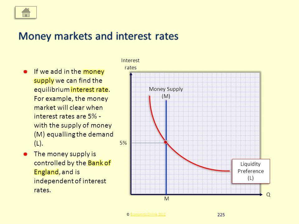 Interest rates Q © Economics Online 2012Economics Online 2012 Money markets and interest rates Money Supply (M) Liquidity Preference (L) 5% M 225