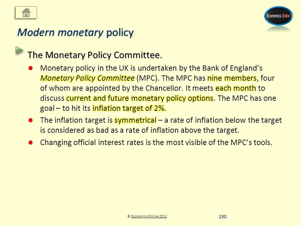 © Economics Online 2012Economics Online 2012 Modern monetary policy 230