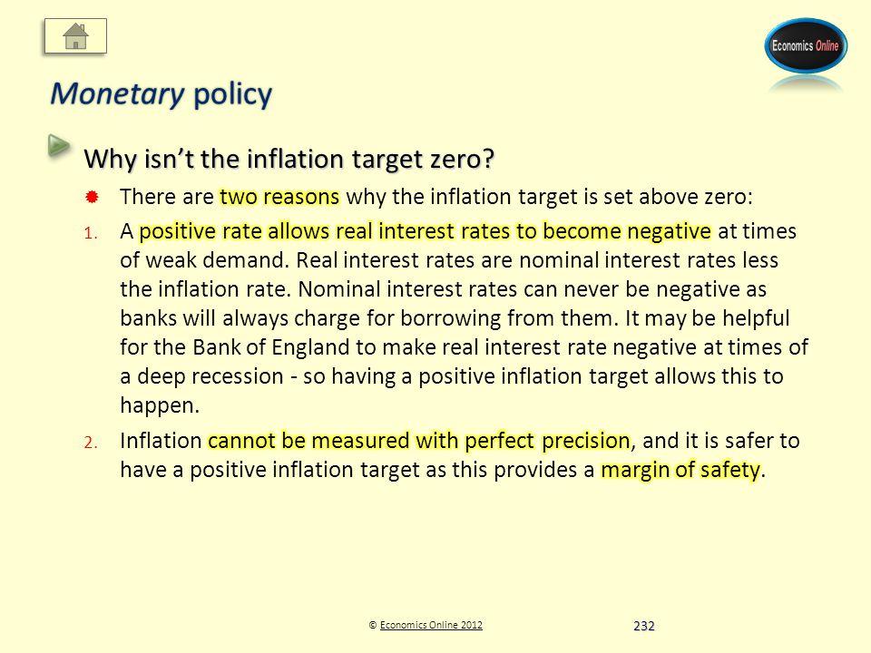 © Economics Online 2012Economics Online 2012 Monetary policy 232