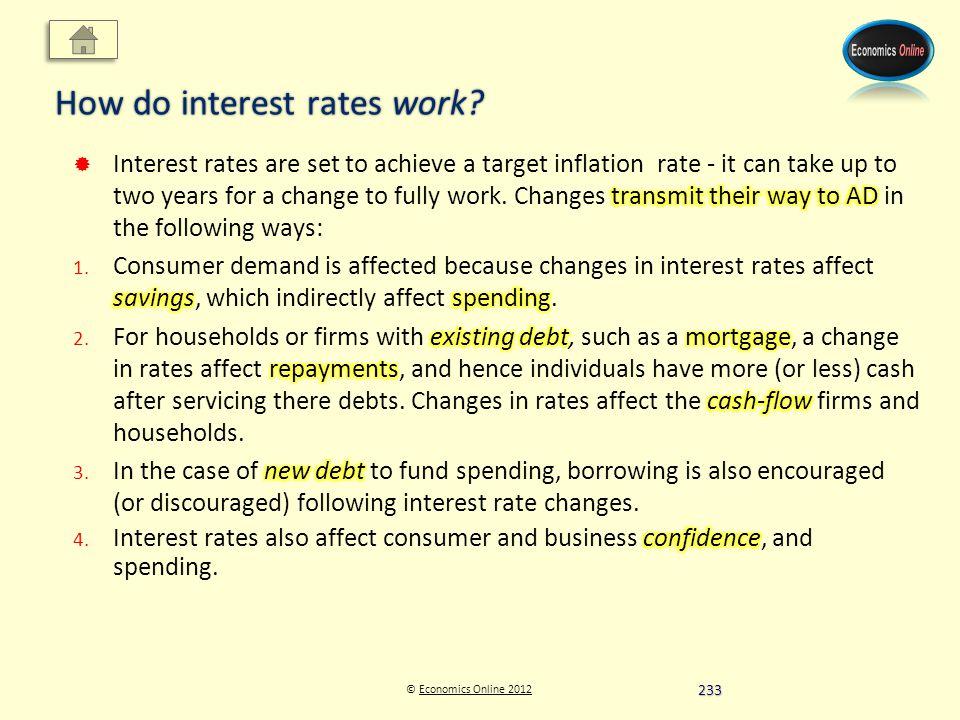 © Economics Online 2012Economics Online 2012 How do interest rates work 233