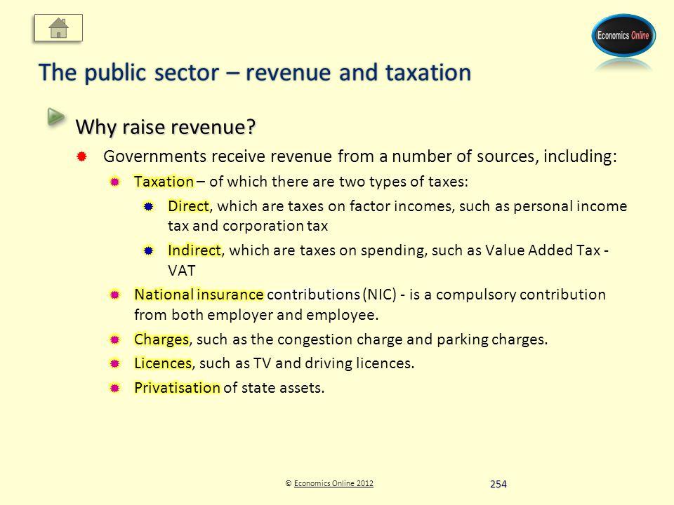 © Economics Online 2012Economics Online 2012 The public sector – revenue and taxation 254