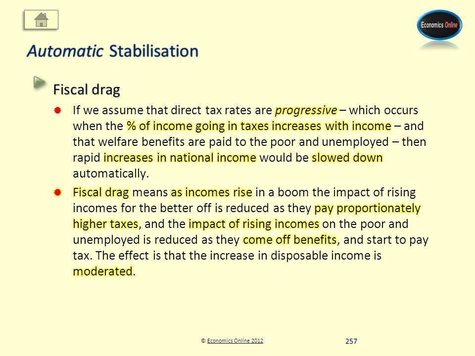 © Economics Online 2012Economics Online 2012 Automatic Stabilisation 257