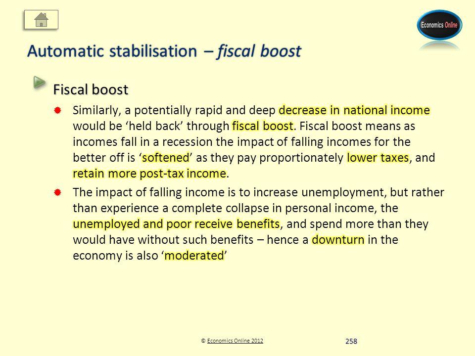 © Economics Online 2012Economics Online 2012 Automatic stabilisation – fiscal boost 258