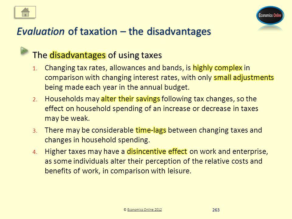© Economics Online 2012Economics Online 2012 Evaluation of taxation – the disadvantages 263
