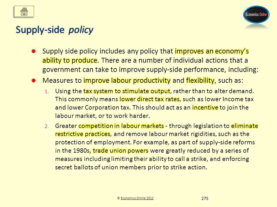 © Economics Online 2012Economics Online 2012 Supply-side policy 275