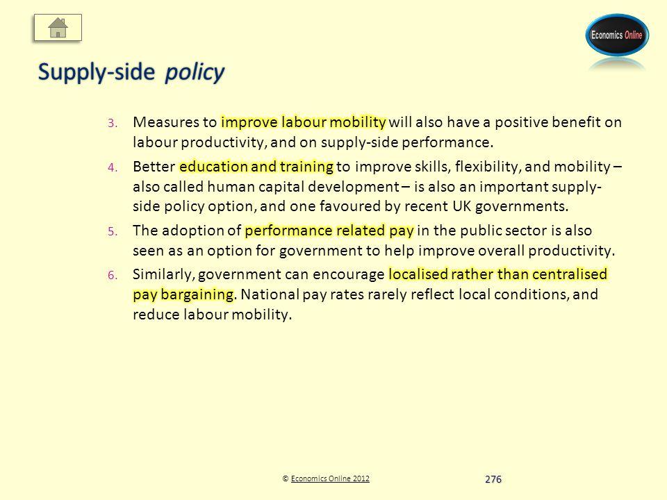 © Economics Online 2012Economics Online 2012 Supply-side policy 276
