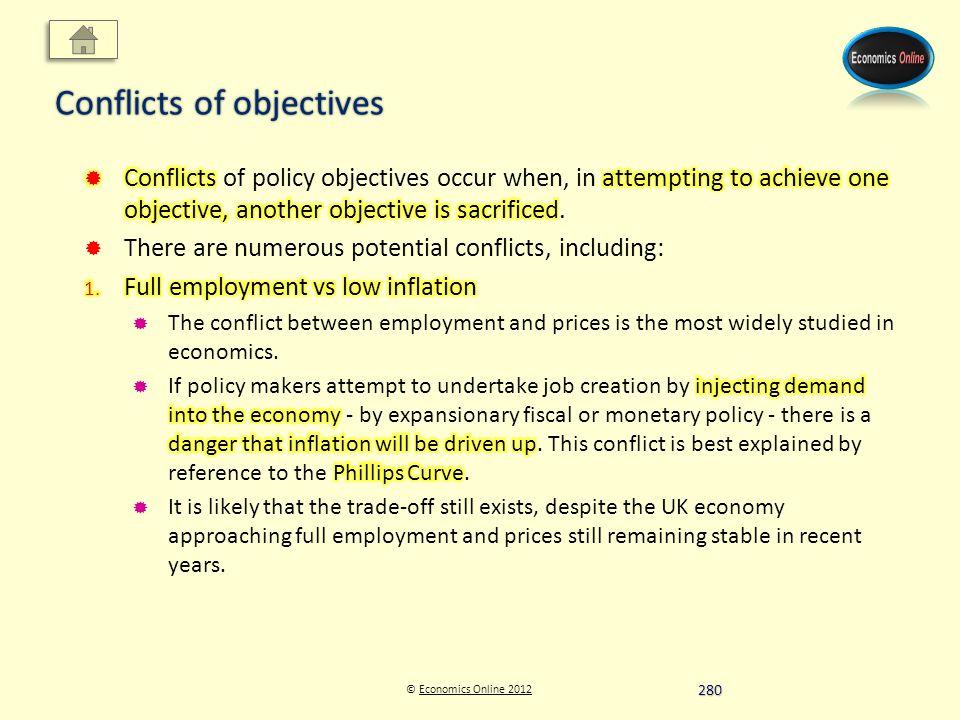 © Economics Online 2012Economics Online 2012 Conflicts of objectives 280