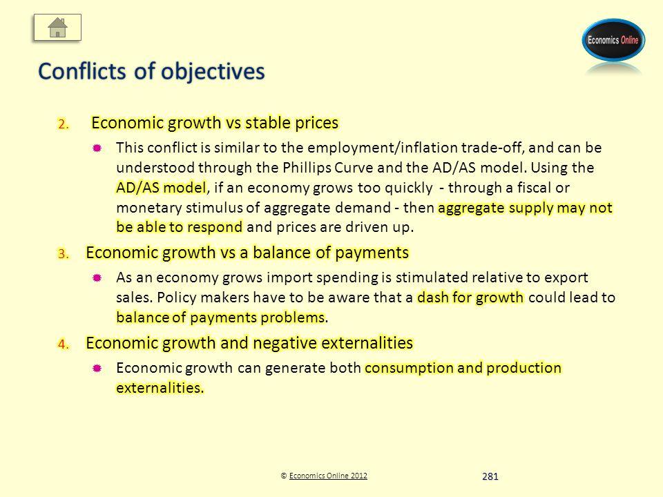 © Economics Online 2012Economics Online 2012 Conflicts of objectives 281