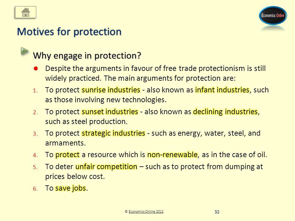 © Economics Online 2012Economics Online 2012 Motives for protection 32